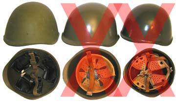 Comparativa de tipos de cascos incorrectos y correctos. A la izquierda un SSh-40 como manda el politburo.